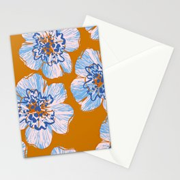 Abstract grunge flowers silhouettes background Stationery Cards