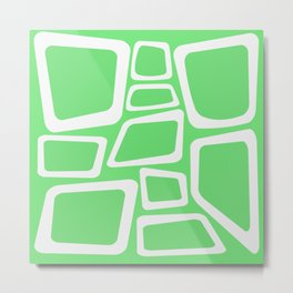 Mid Century On Pastel Green - Abstract Design Metal Print