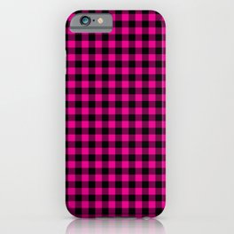 Classic Hot Pink Country Cottage Summer Buffalo Plaid iPhone Case