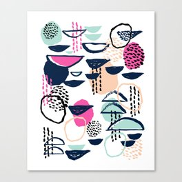 Rumba - pattern print retro cool hipster art colorful feminine shapes abstract Canvas Print