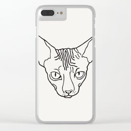 Sphynx Cat Poster Sphinx Cat Art Hairless Cat Gift Kitty Cat Lover Gift • New Cat Lady Print Sterlin Clear iPhone Case