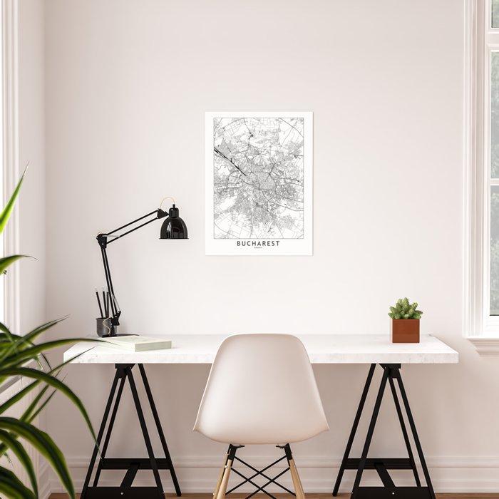 Bucharest White Map Poster