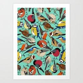 winter garden birds green Art Print