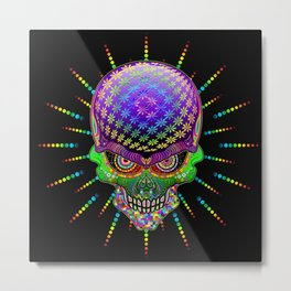 Crazy Skull Psychedelic Explosion Metal Print