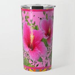 PINK TROPICAL RED-PINK HIBISCUS FLOWERS DESIGN Travel Mug