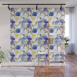 Pastel yellow blue lavender watercolor elegant floral Wall Mural