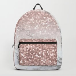 Sparkle - Glittery Rose Gold Marble Backpack