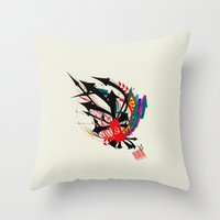 taurus Throw Pillows featuring Taurus by Det Tidkun