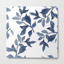 Indigo Leaves Watercolour painting Metal Print
