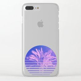 Aesthetic Retro 80s Sunset beach Palm Tree graphic Gift Clear iPhone Case