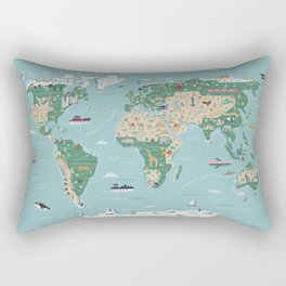 Illustrated World Map with animals, continents and architecture Rectangular Pillow