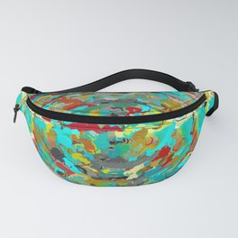 psychedelic circle pattern painting abstract background in green blue yellow brown Fanny Pack
