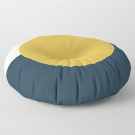 Horizon. Mustard Yellow Sun Dot on Pale Blush Pink and Navy Blue Color Block. Minimalist Geometric Floor Pillow