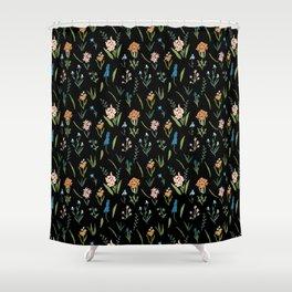 Dark Vintage Botanical Shower Curtain