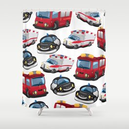 Fire, Police and Ambulance toy car pattern Shower Curtain