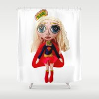 supergirl Shower Curtains featuring Kara Zoe-El ~ Supergirl by Chiara Venice Art Dolls