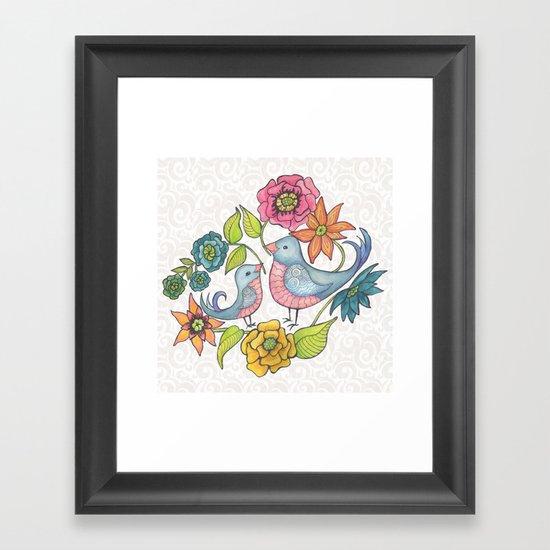 Blue Bird Garden Framed Art Print