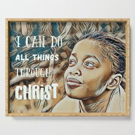 Black Girl Can Do All Things Through Christ Serving Tray