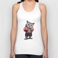 boxing Tank Tops featuring BOXING CAT by ADAMLAWLESS