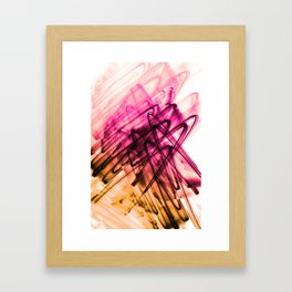 Deep Cerise and Sunburnt Abstract Fluid Lines Framed Art Print