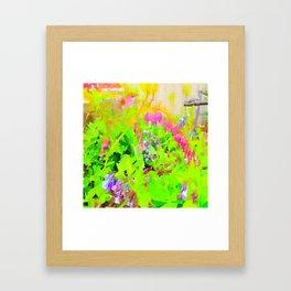 Abstract Spring Flowers Bleeding Hearts and Virginia Bluebells Framed Art Print