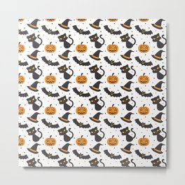 Black orange watercolor polka dots halloween pattern Metal Print