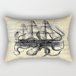 Kraken Octopus Attacking Ship Multi Collage Background Rectangular Pillow