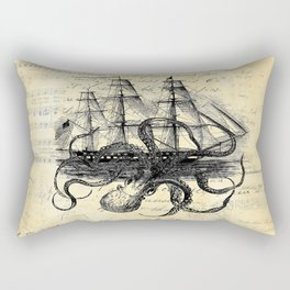 Kraken Octopus Attacking Ship Multi Collage Background Rectangular Pillow