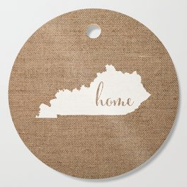Kentucky is Home - White on Burlap Cutting Board
