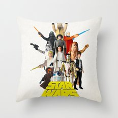 Star War s Vintage Action Figures - First 12 - Square Throw Pillow
