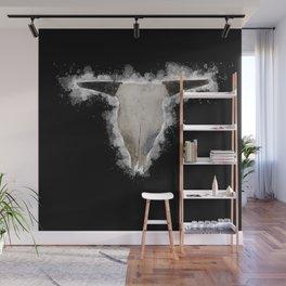 Bull Skull Black Background Wall Mural