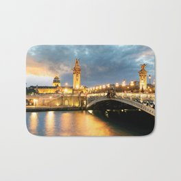 Night view of Paris Bridge Alexandre III Bath Mat