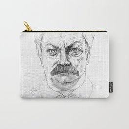 Ron Swanson in black and white Carry-All Pouch