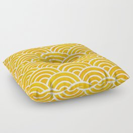 Japanese Seigaiha Wave – Marigold Palette Floor Pillow
