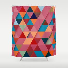 Colorfull abstract darker triangle pattern Shower Curtain