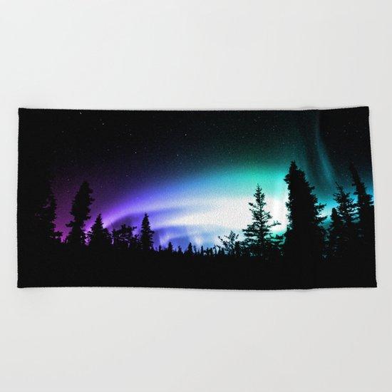 Aurora Borealis Forest Beach Towel
