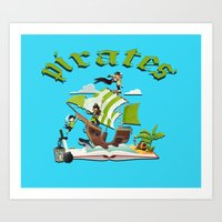 funny pirate Art Print