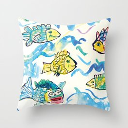 Funny fishes Throw Pillow
