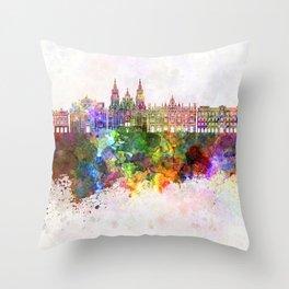 Santiago de Compostela skyline in watercolor background Throw Pillow
