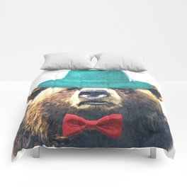 Funny Bear Illustration Comforters