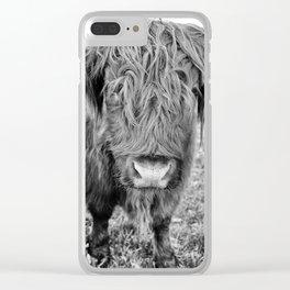 highland cow b&w Clear iPhone Case