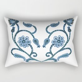 Blue Paisley Heart Rectangular Pillow