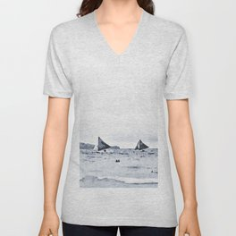 Watercolor Sailing in the Beach Unisex V-Neck