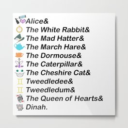 Alice in Wonderland Names Metal Print