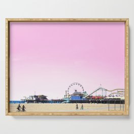 Santa Monica Pier with Ferries Wheel and Roller Coaster Against a Pink Sky Serving Tray