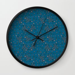 Ditsy Flowers - Blue Wall Clock