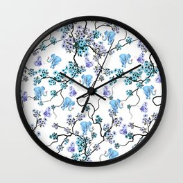 Modern lavender teal floral elephant butterfly pattern Wall Clock