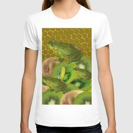 3 GREEN FROGS & KIWI FRUIT PATTERNED GREEN-GOLD ART FROM T-shirt