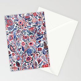 Botanical in red and blue Stationery Cards