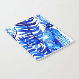 Jungle Leaves & Ferns in Blue Notebook